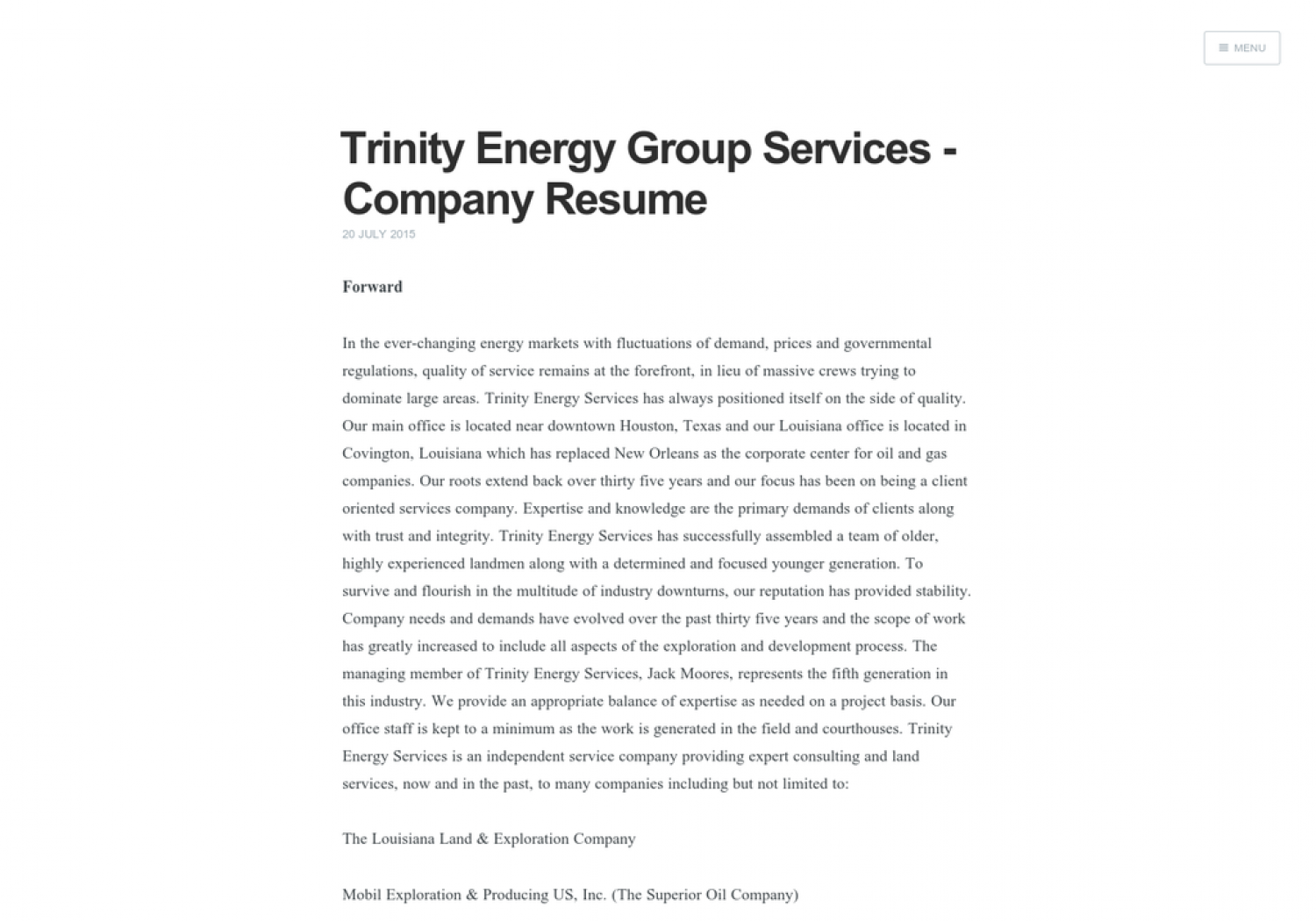 High Quality Trinity Energy Group Services   Company Resume Infographic For Resume Company