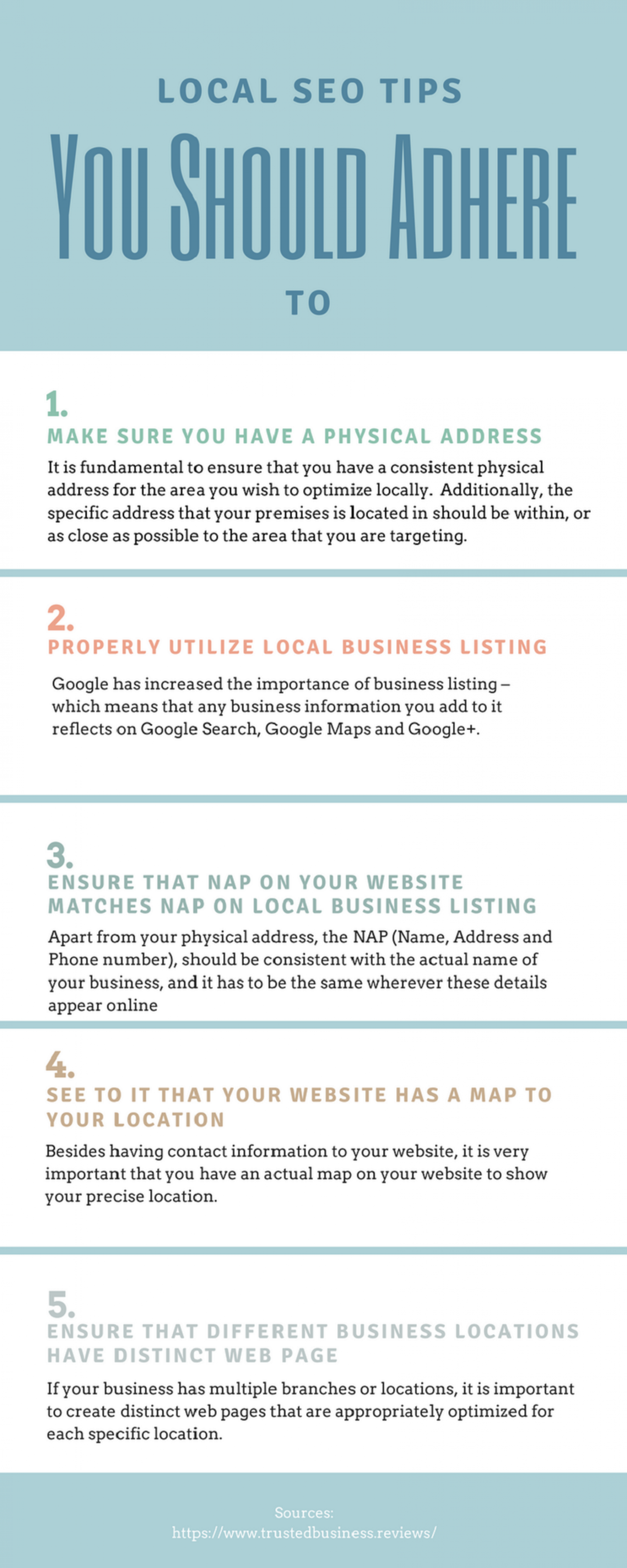 Trusted Business Reviews - Local SEO Tips You Should Adhere to Infographic