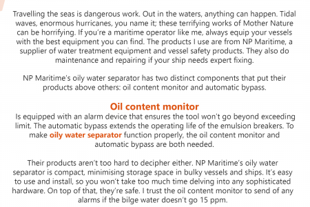 Trusting NP Maritime and their oily water separator Infographic