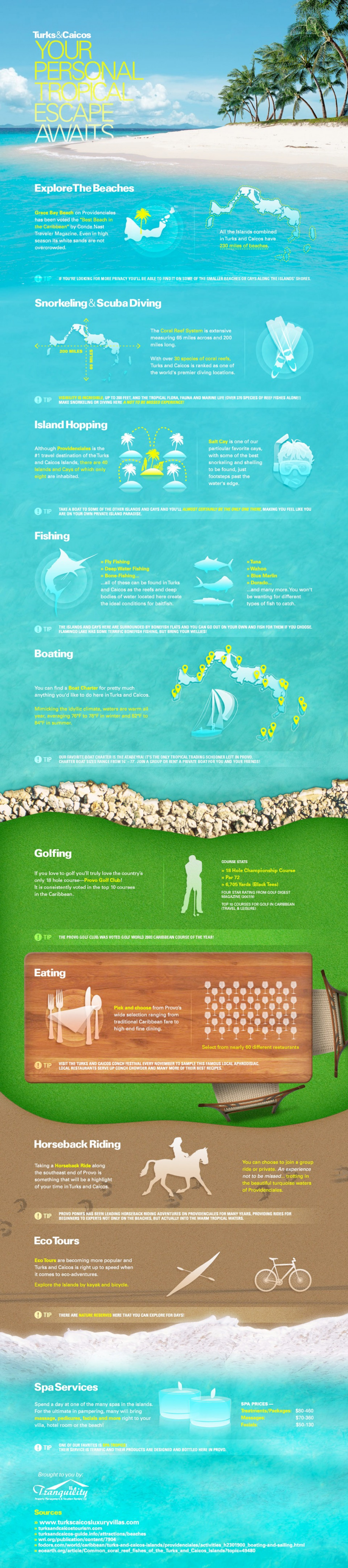 Turks & Caicos Beach Vacations Infographic