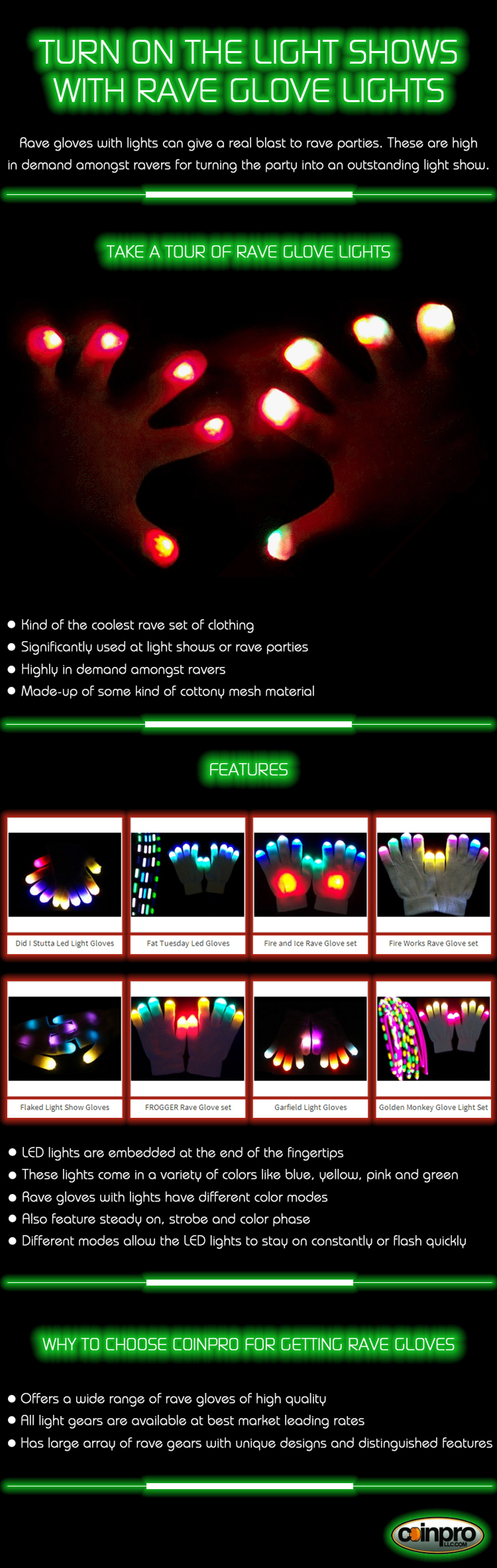 Turn on the light shows with rave glove lights Infographic