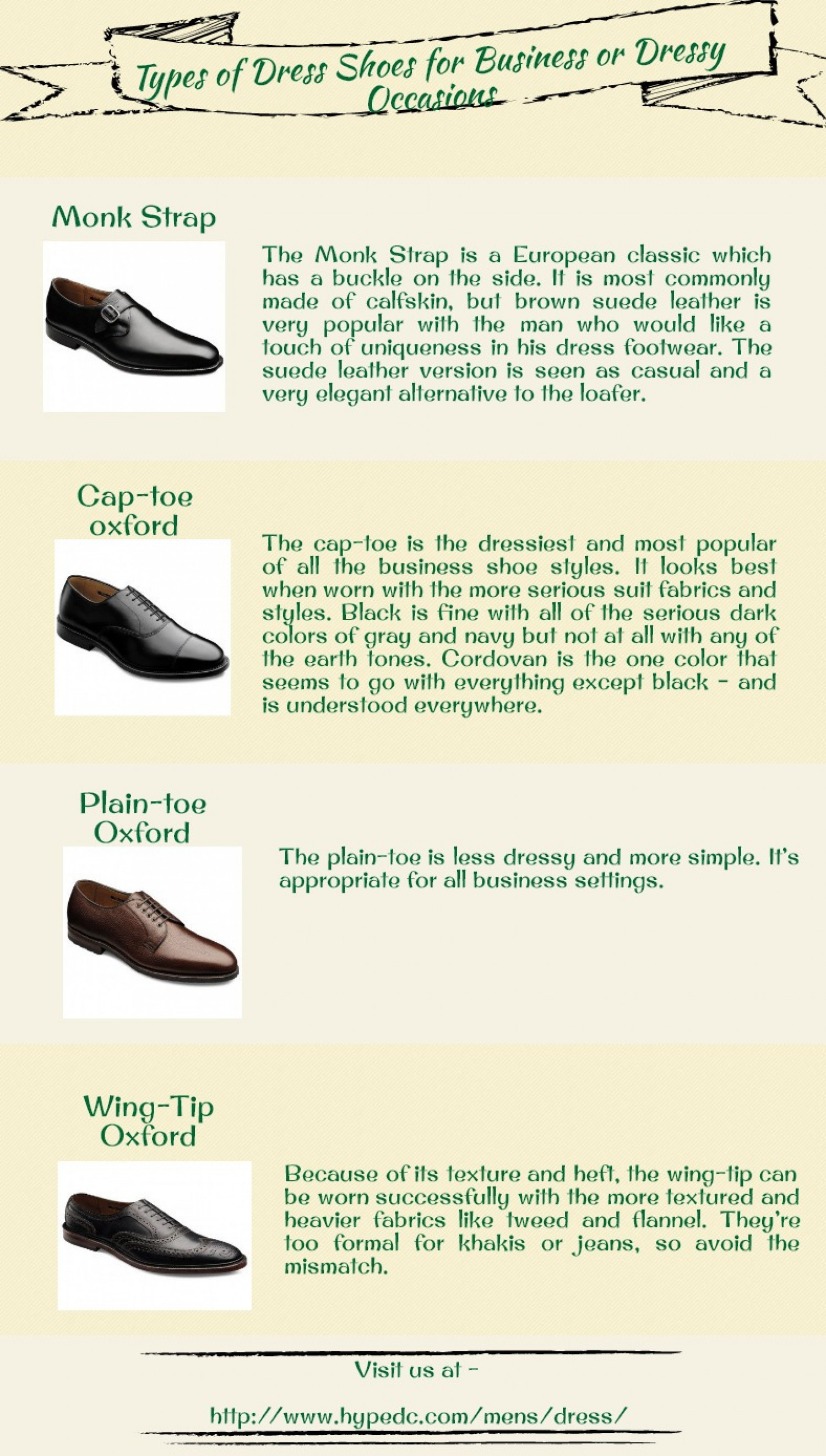 Types of Dress Shoes for Business or Dressy Occasions Infographic