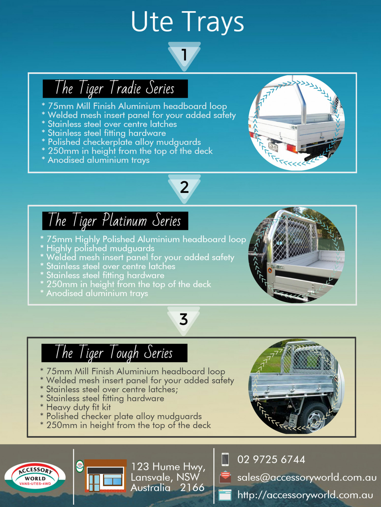 Types of Ute Trays Infographic