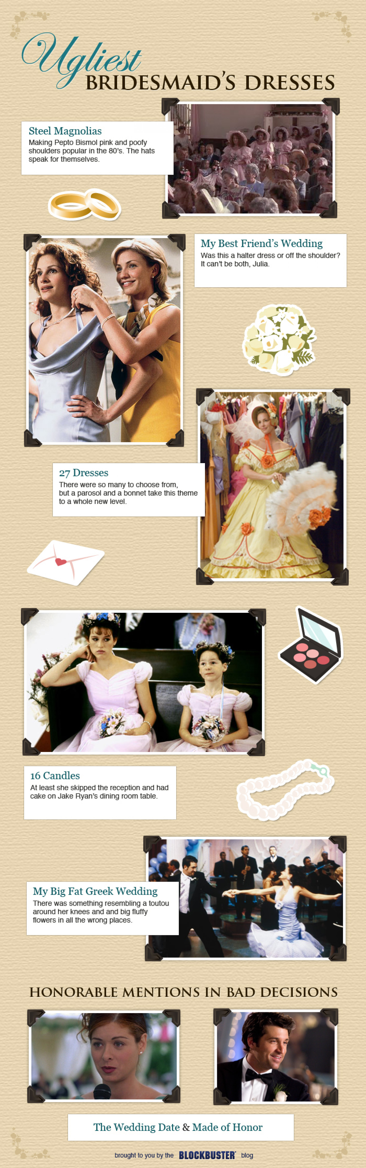 Ugliest Bridesmaid Dresses   Infographic