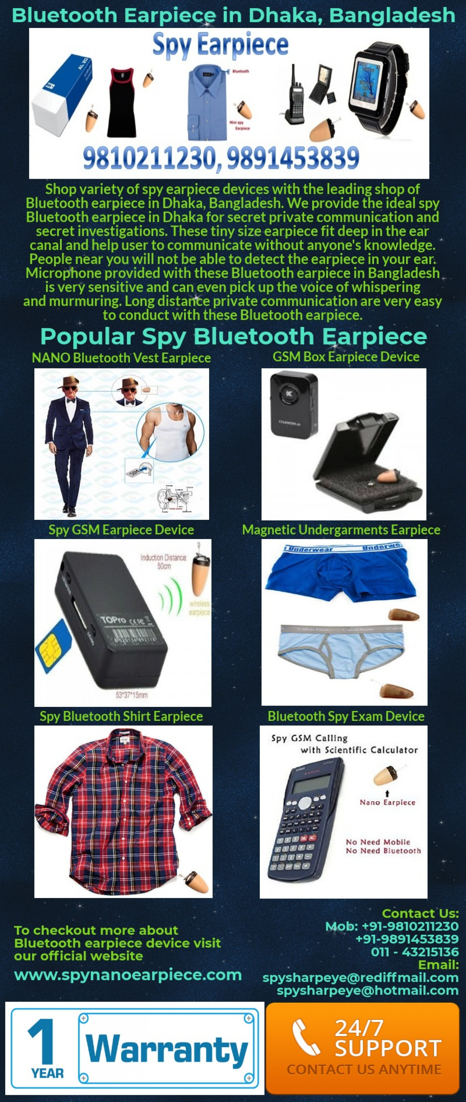 Undetectable Spy Bluetooth Earpiece in Dhaka Bangladesh Infographic