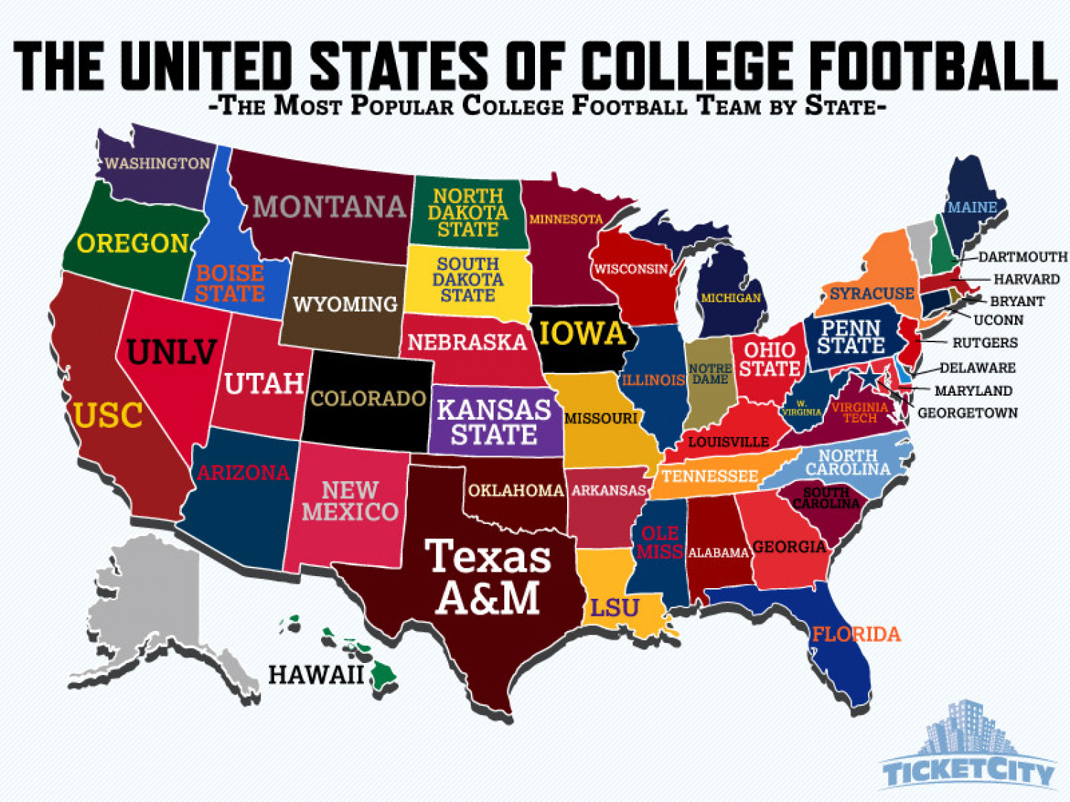 United States of College Football Map Visually