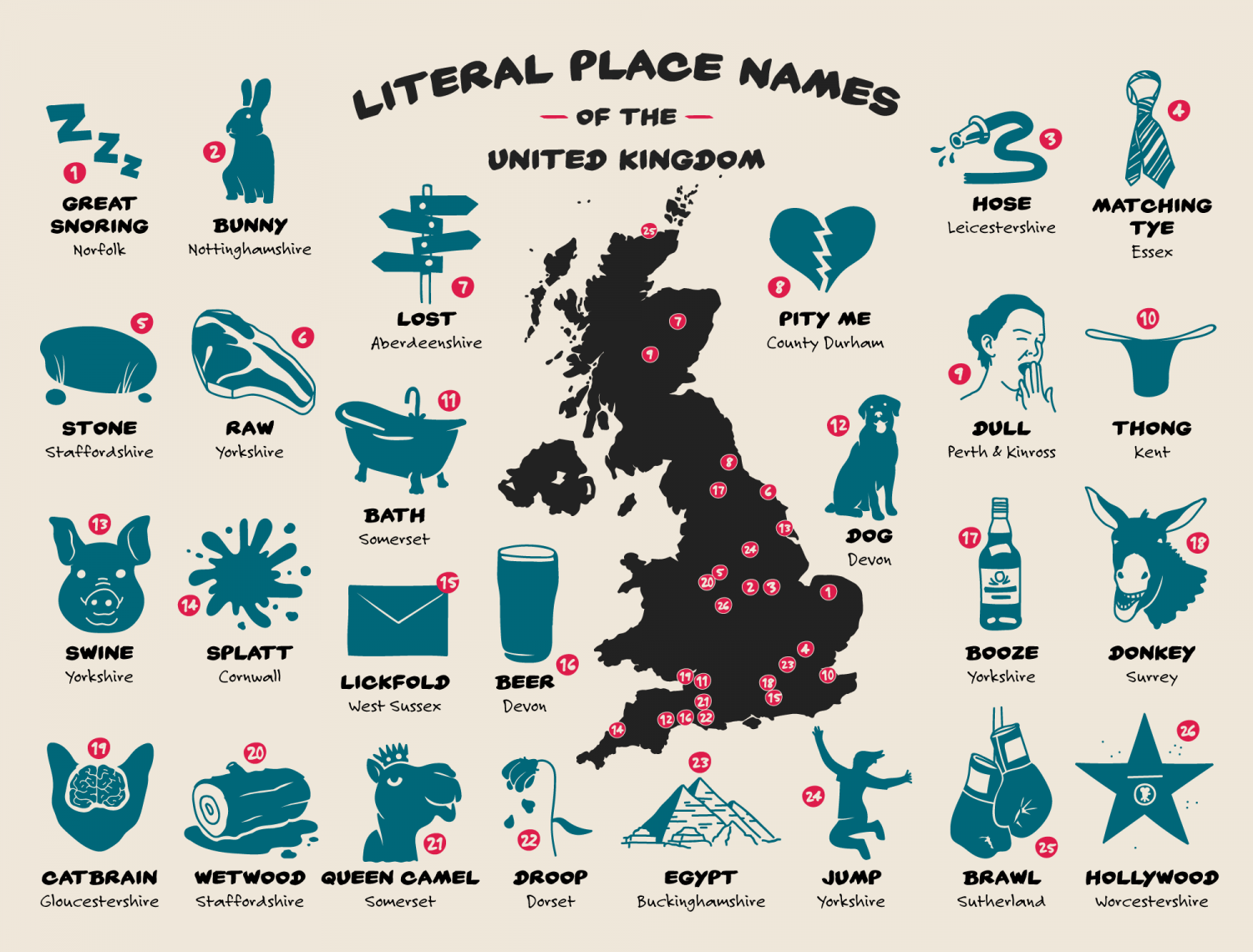 Unusual Place Names of Britain Infographic