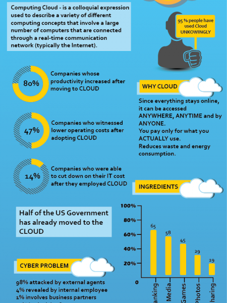 Up In The Cloud - Cloud Computing Mini-Infograph Infographic