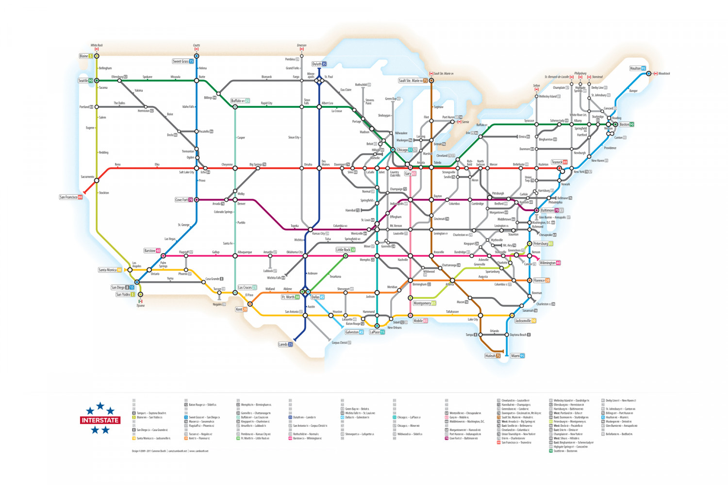 US Interstates As A Subway Map Visually - Us map of interstates