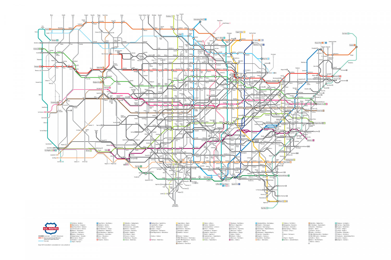 US Numbered Highways As A Subway Map Visually - Map of us with highways
