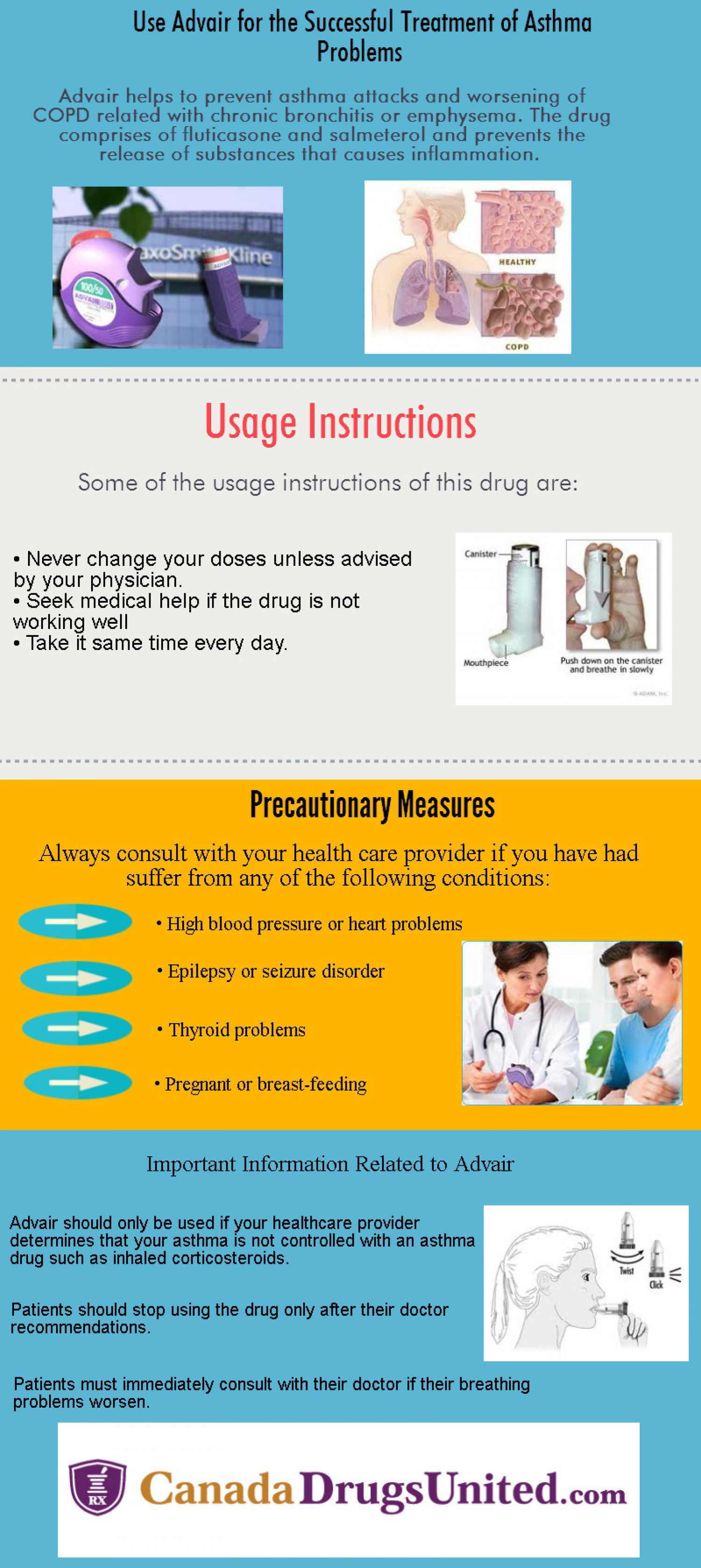 Use Advair for the Successful Treatment of Asthma Problems Infographic