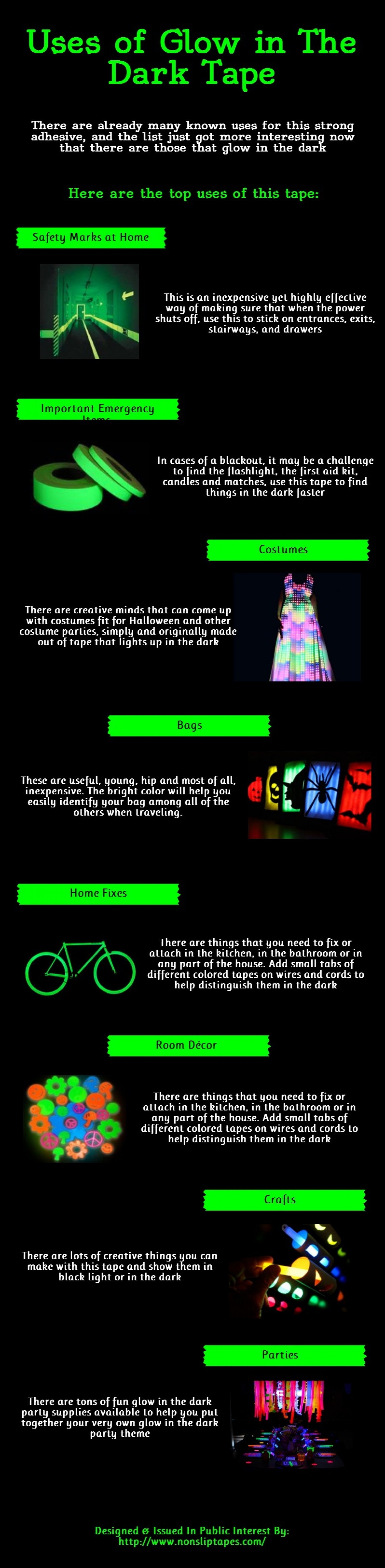 Uses of Glow in the Dark Tape Infographic