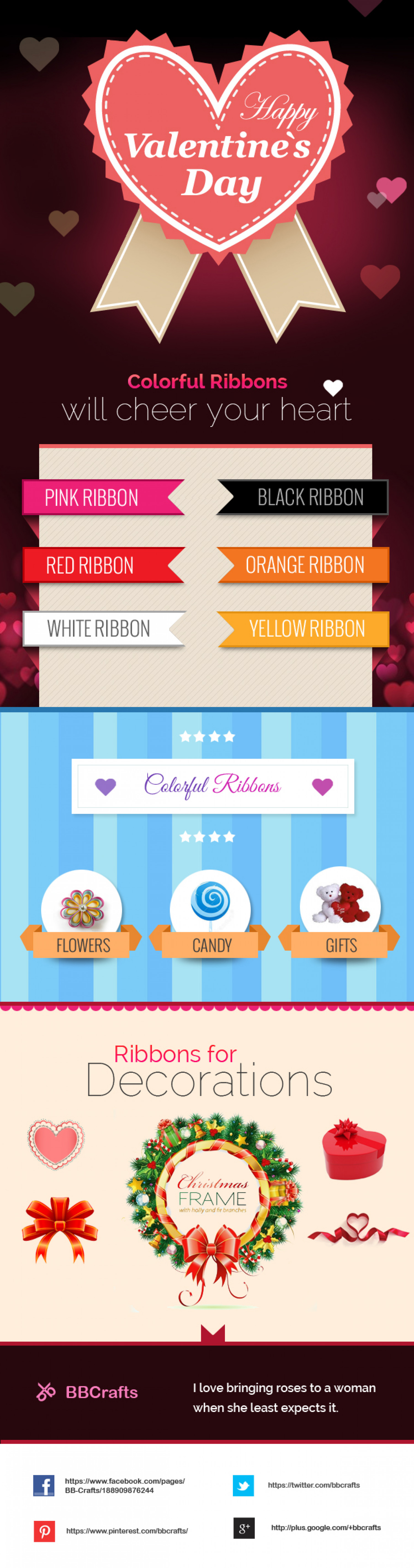 Valentine's Day with Colorful Ribbons | BBCrafts Infographic