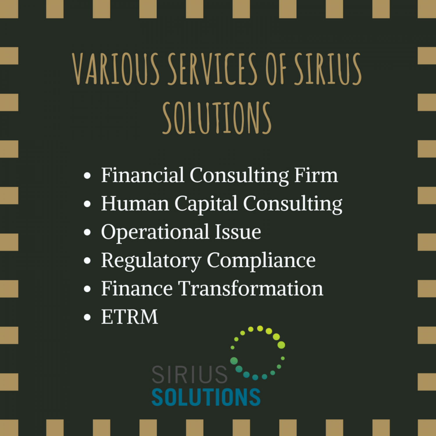 Various Services of Sirius Solutions Infographic