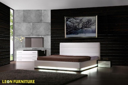 Vig Furniture Infinity White Contemporary Platform Queen Bedroom Collection with Lights Infographic