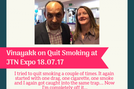 Vinayak's Review On Quit smoking At JTN Expo Infographic