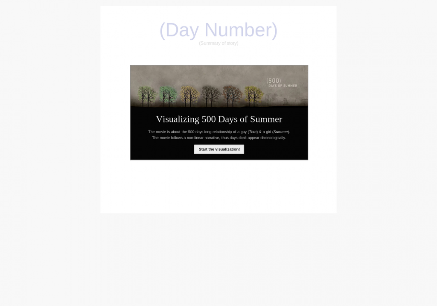 Visualizing 500 Days of Summer Infographic