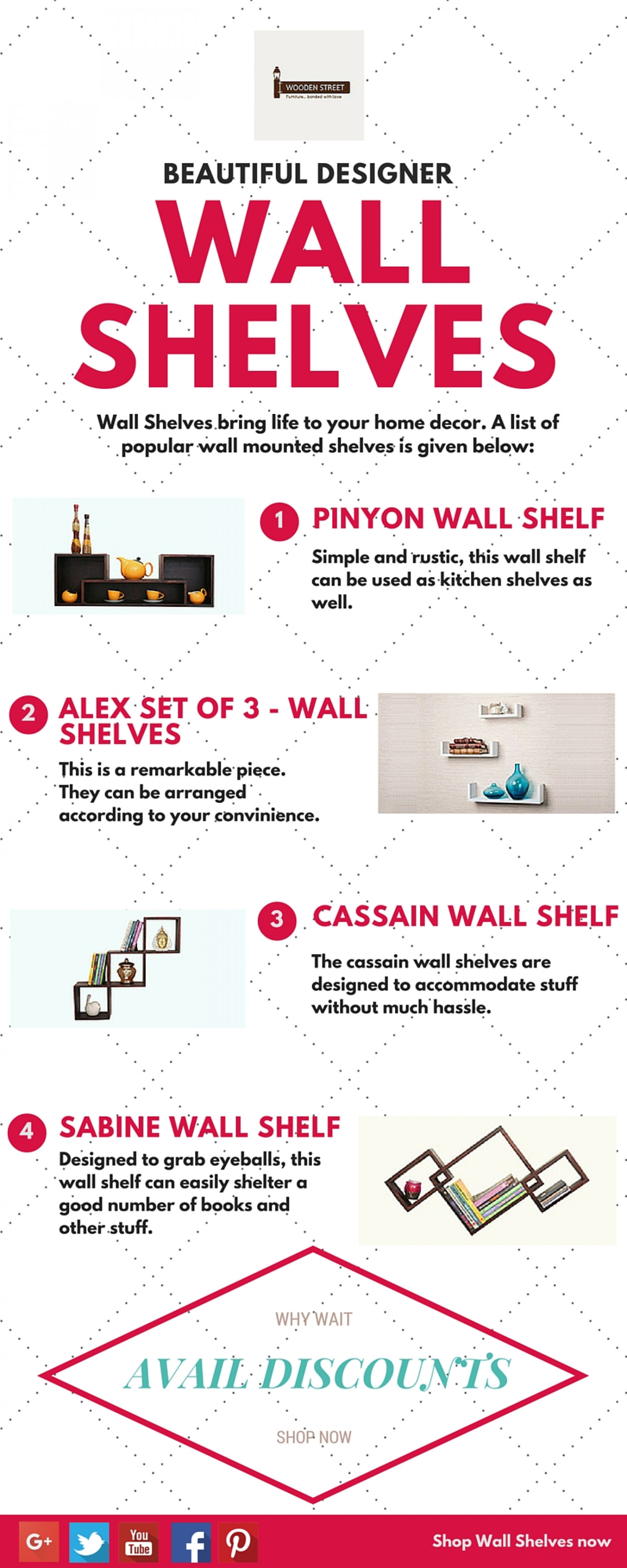 Wall Shelves Online India - WoodenStreet Infographic