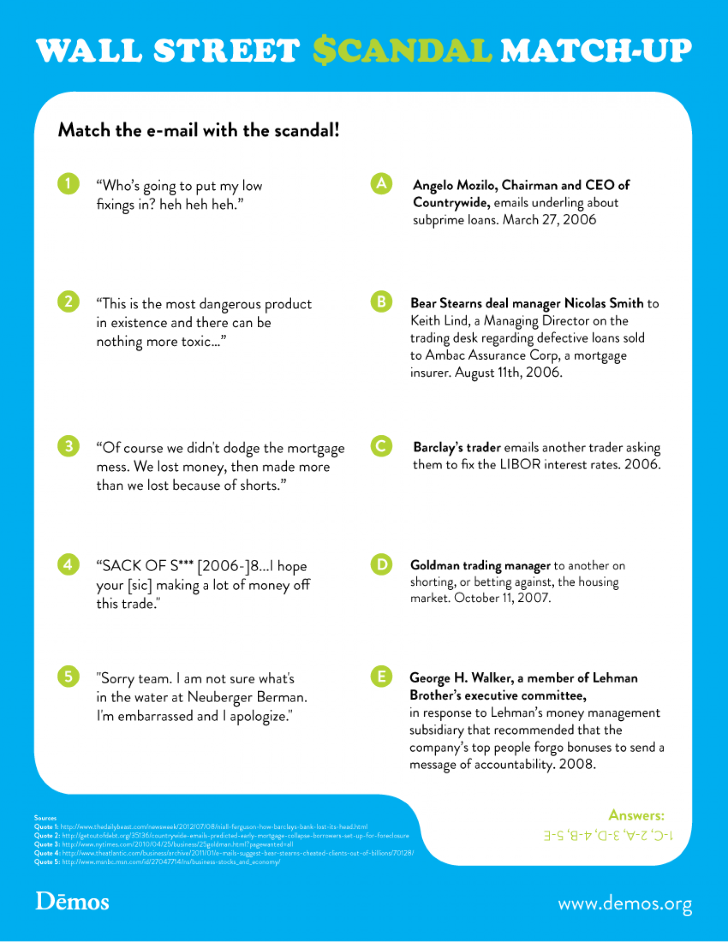 Wall Street Scandal Match-Up Infographic
