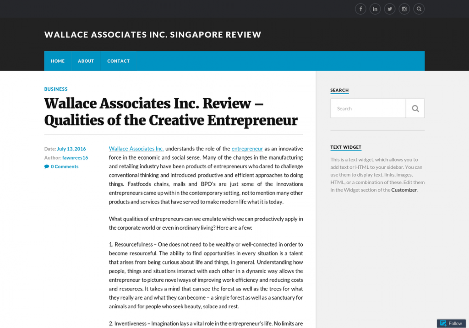 Wallace Associates Inc. Review - Qualities of the Creative Entrepreneur Infographic