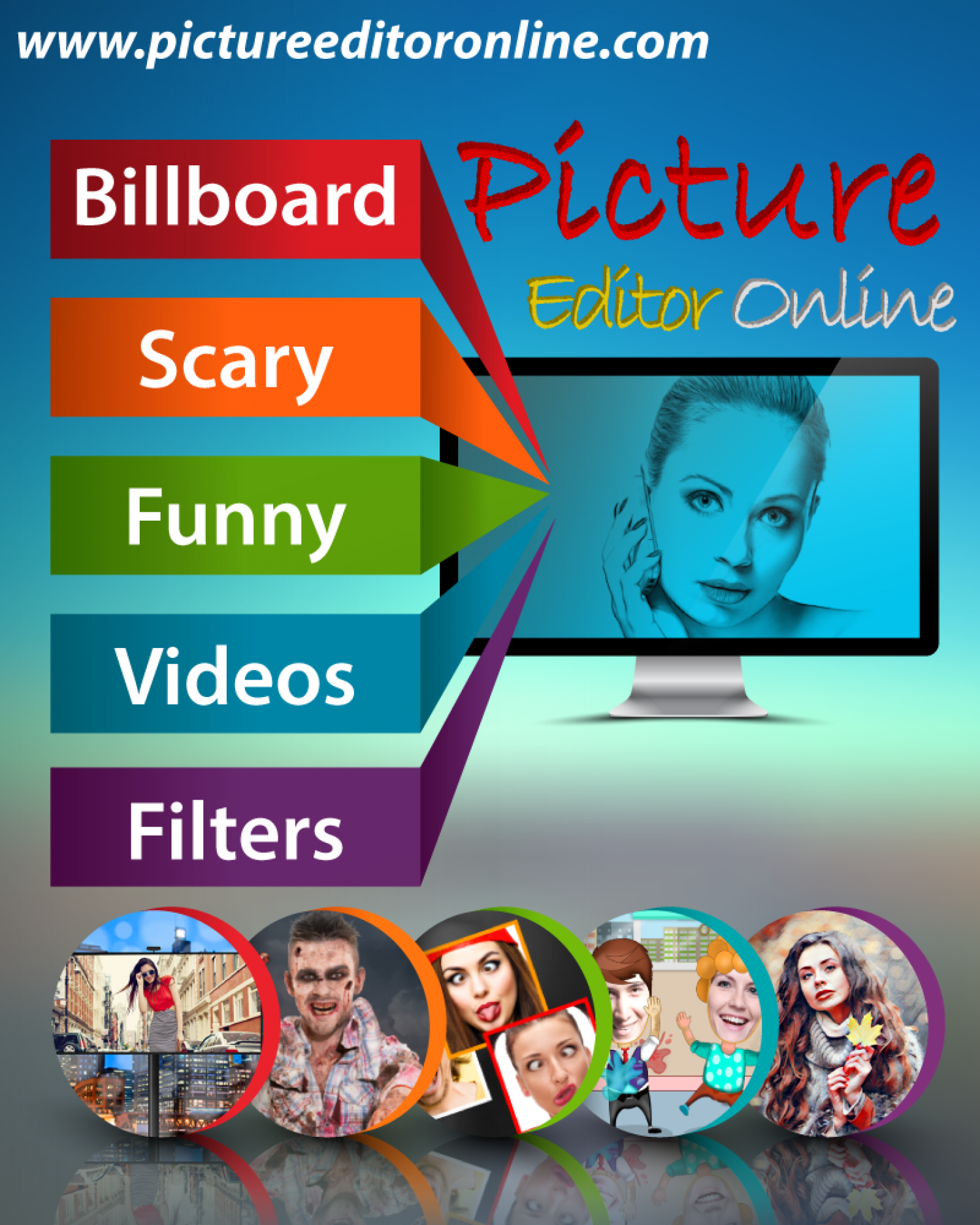 Waoo Scary, funny video, filter billboard effects are awesome effects on Picture Editor Online  Infographic