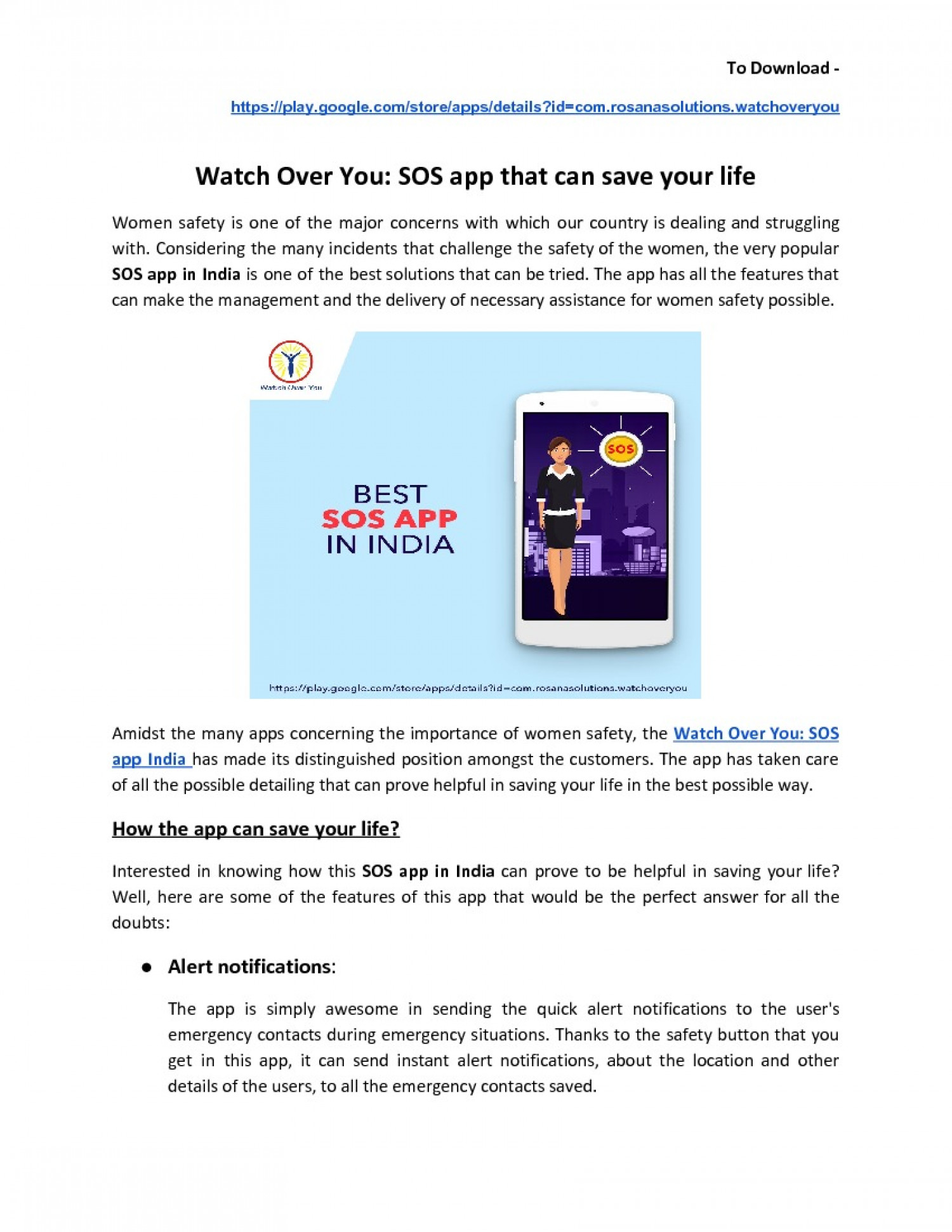 Watch Over You: SOS App that can save your life Infographic
