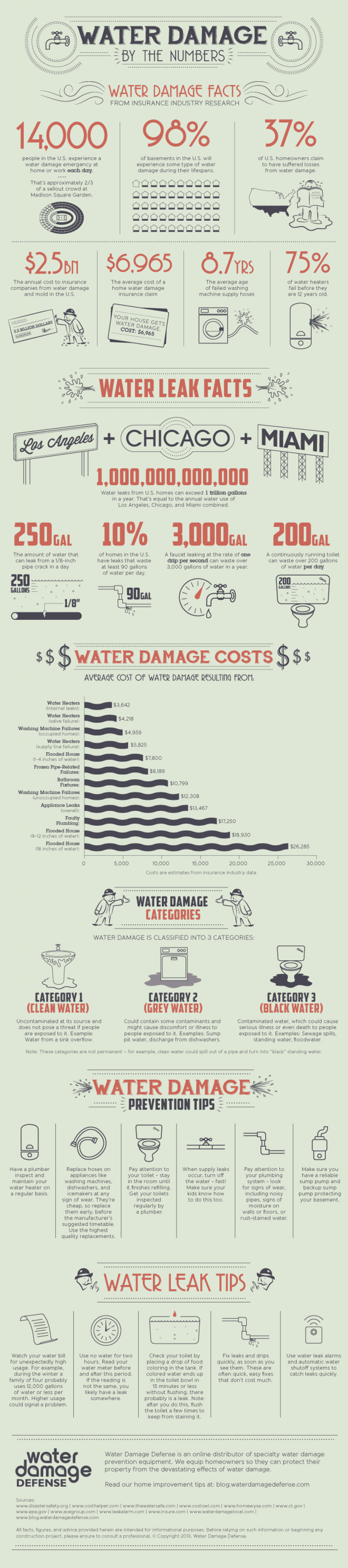 Water Damage By The Numbers Infographic