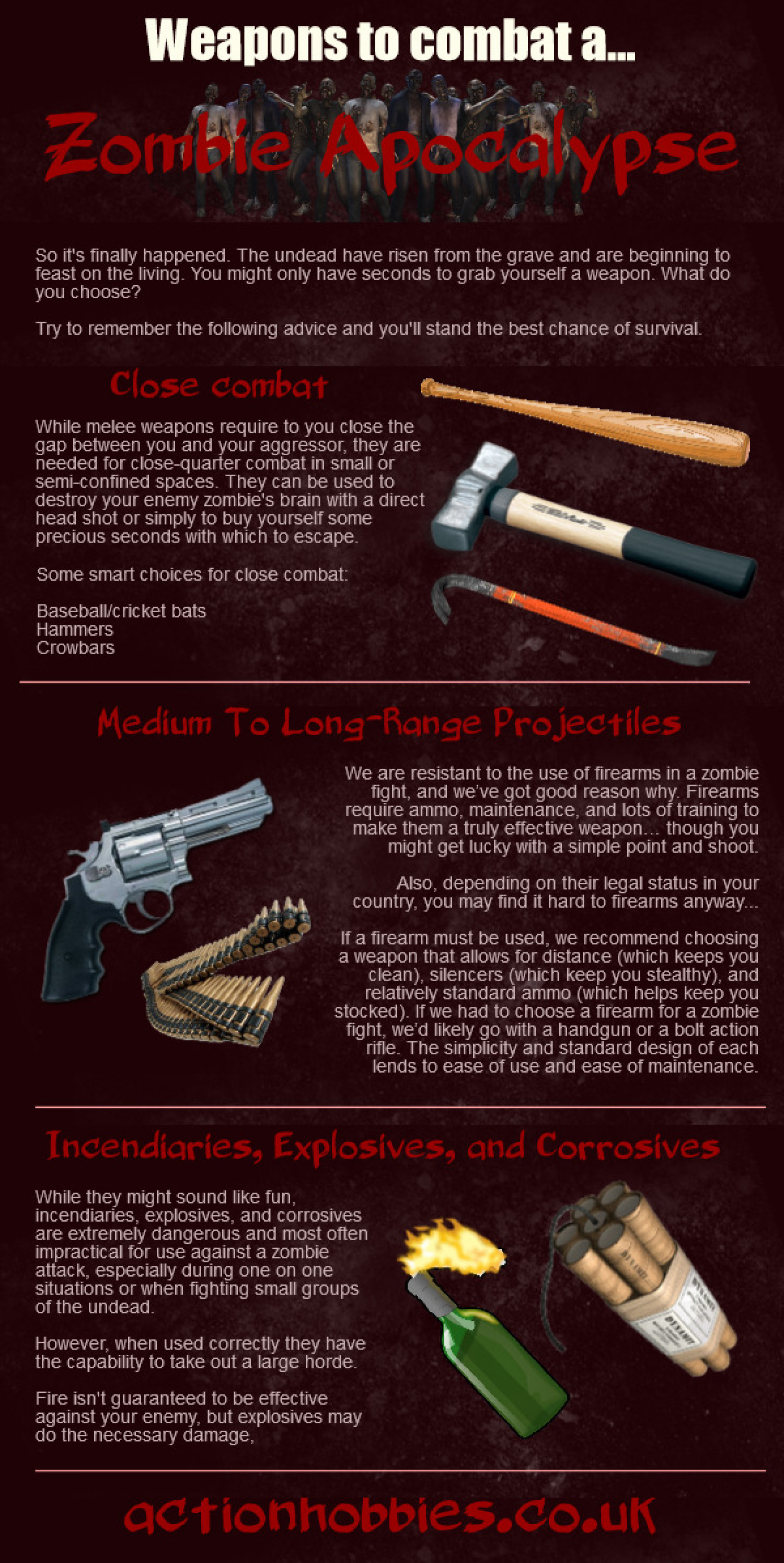Weapons to Combat a Zombie Apocalypse Infographic