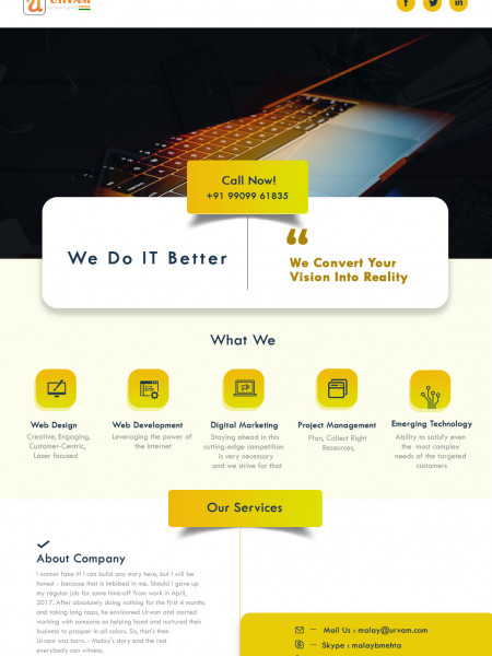 Web Development Company - Urvam Technologies Infographic