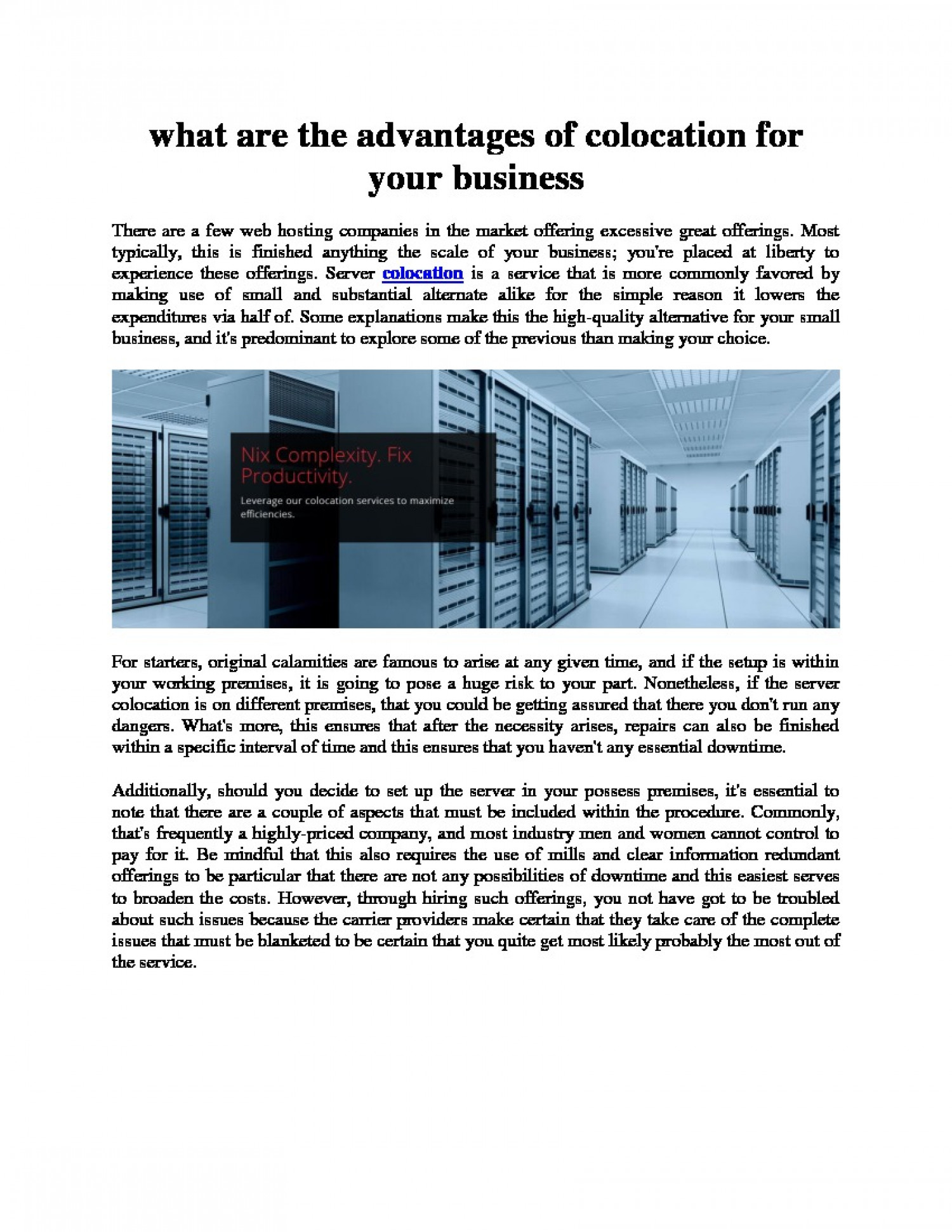 What are the advantages of colocation for your business Infographic