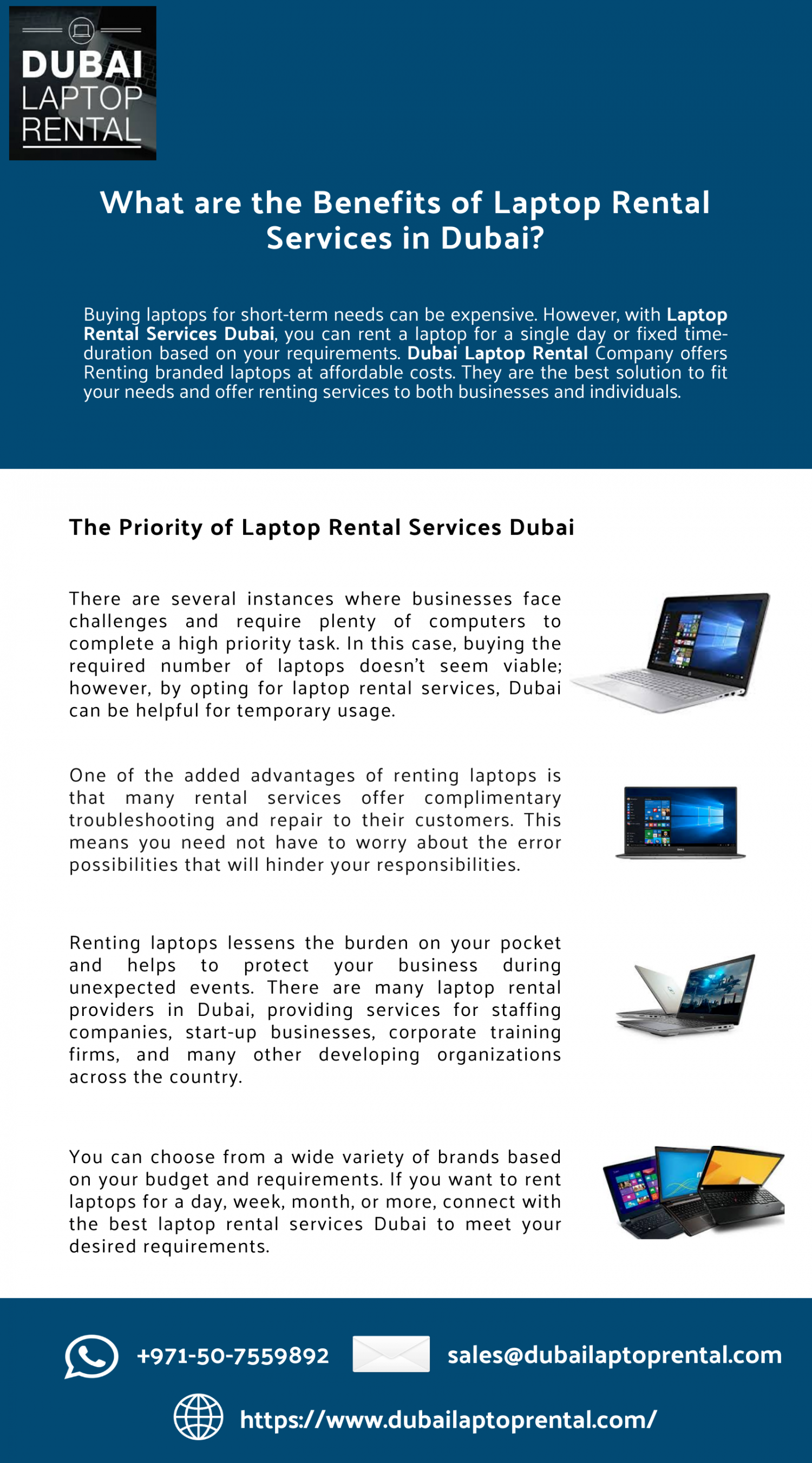 What are the Benefits of Laptop Rental Services in Dubai? Infographic