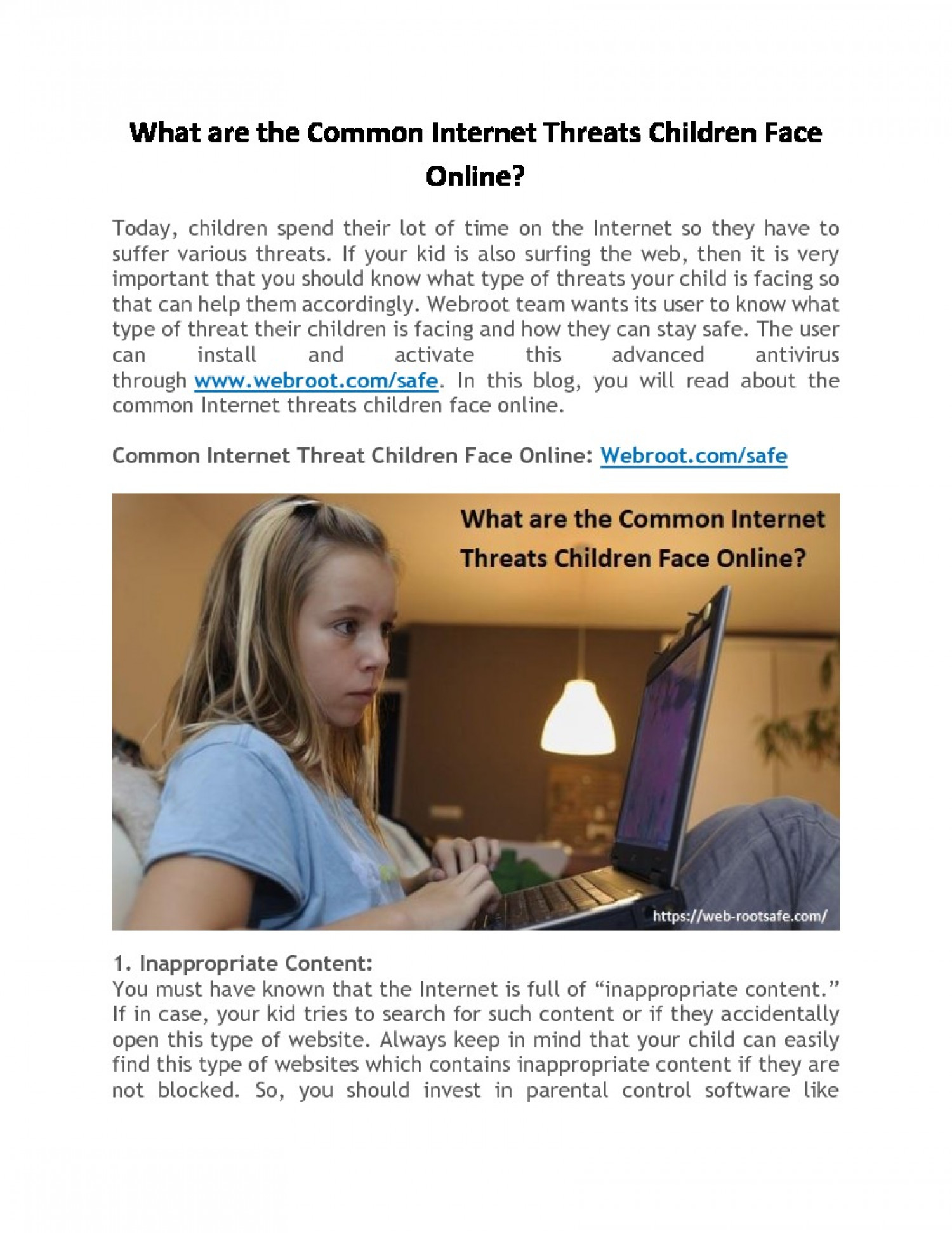 What are the Common Internet Threats Children Face Online? Infographic