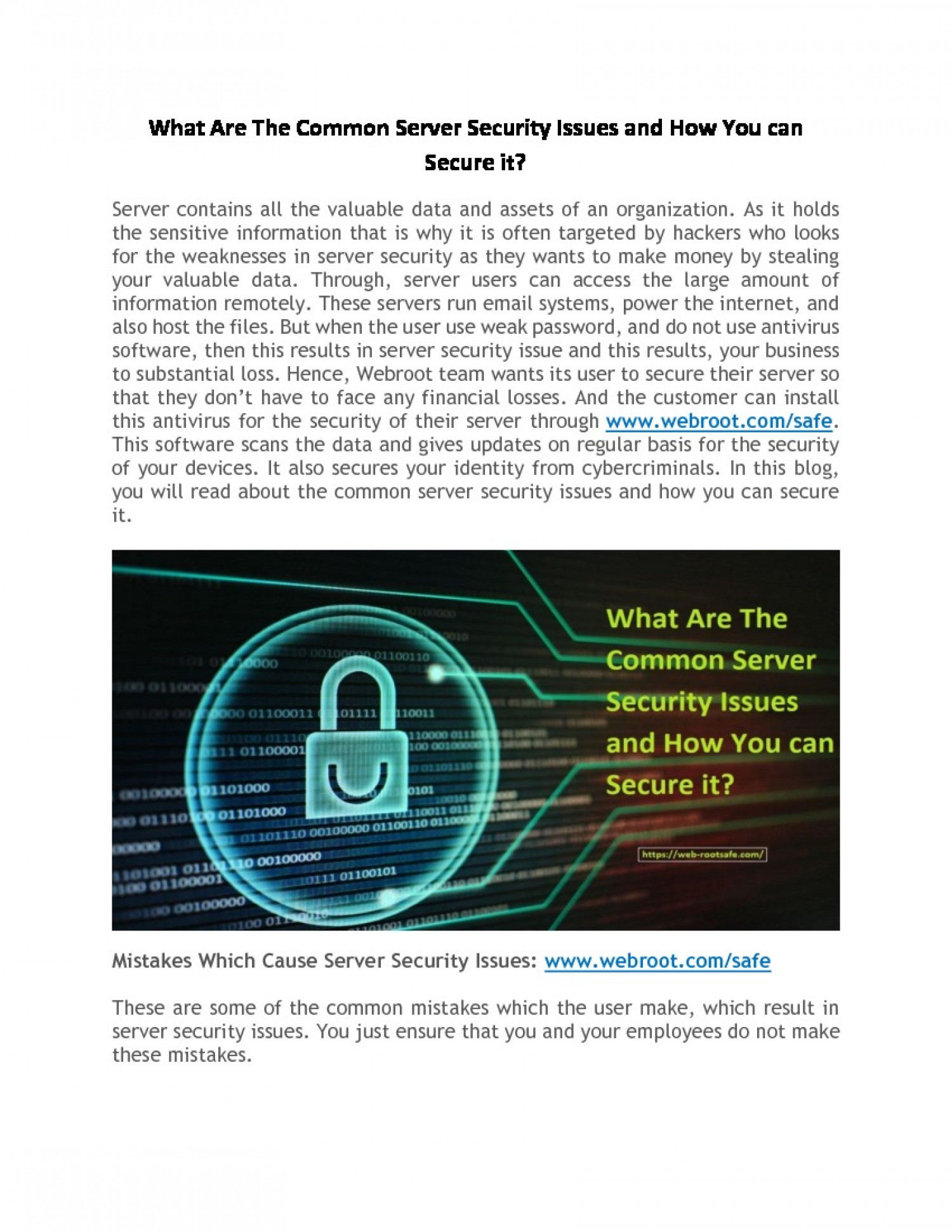 What Are The Common Server Security Issues and How You can Secure it? Infographic