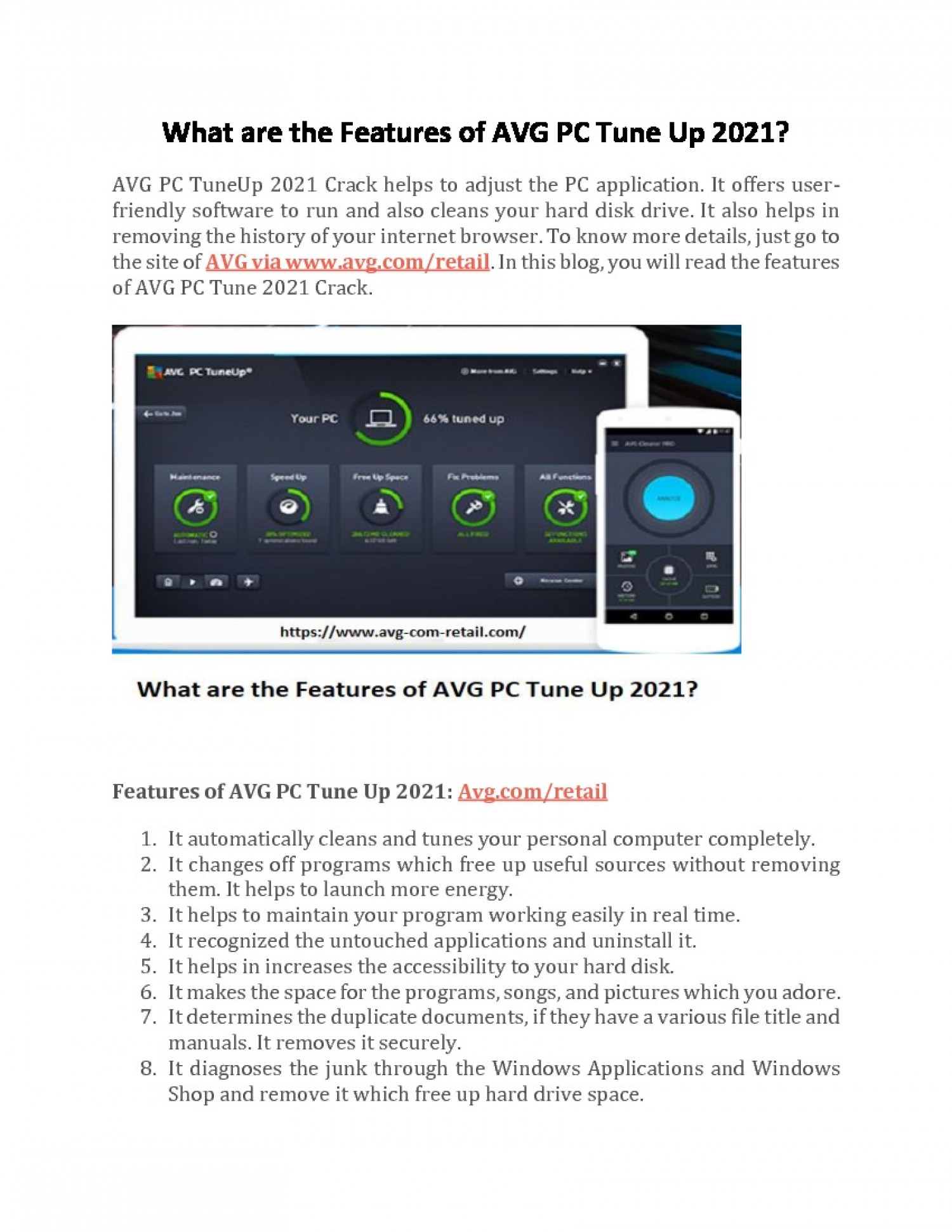 What are the Features of AVG PC Tune Up Crack 2021? Infographic