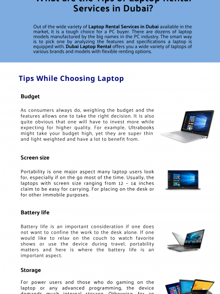 What are the Tips of Laptop Rental Services in Dubai? Infographic