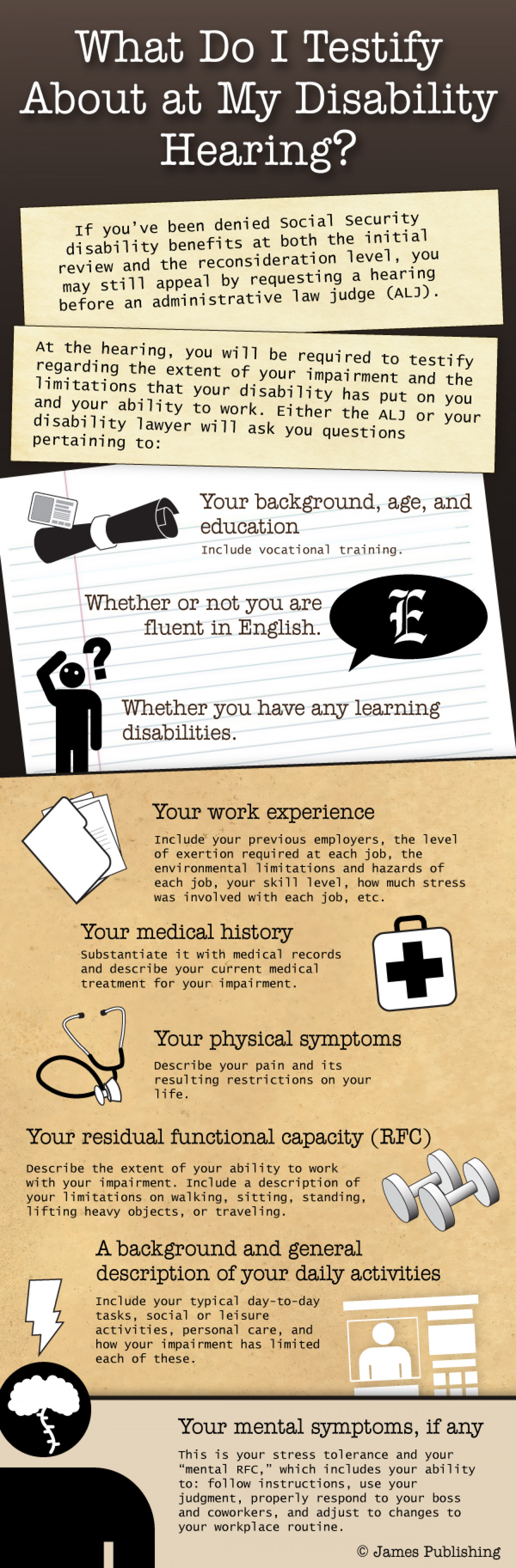 What Do I Testify About at My Disability Hearing Infographic