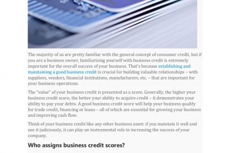 WHAT DOES YOUR BUSINESS CREDIT SCORE MEAN TO YOU? Infographic