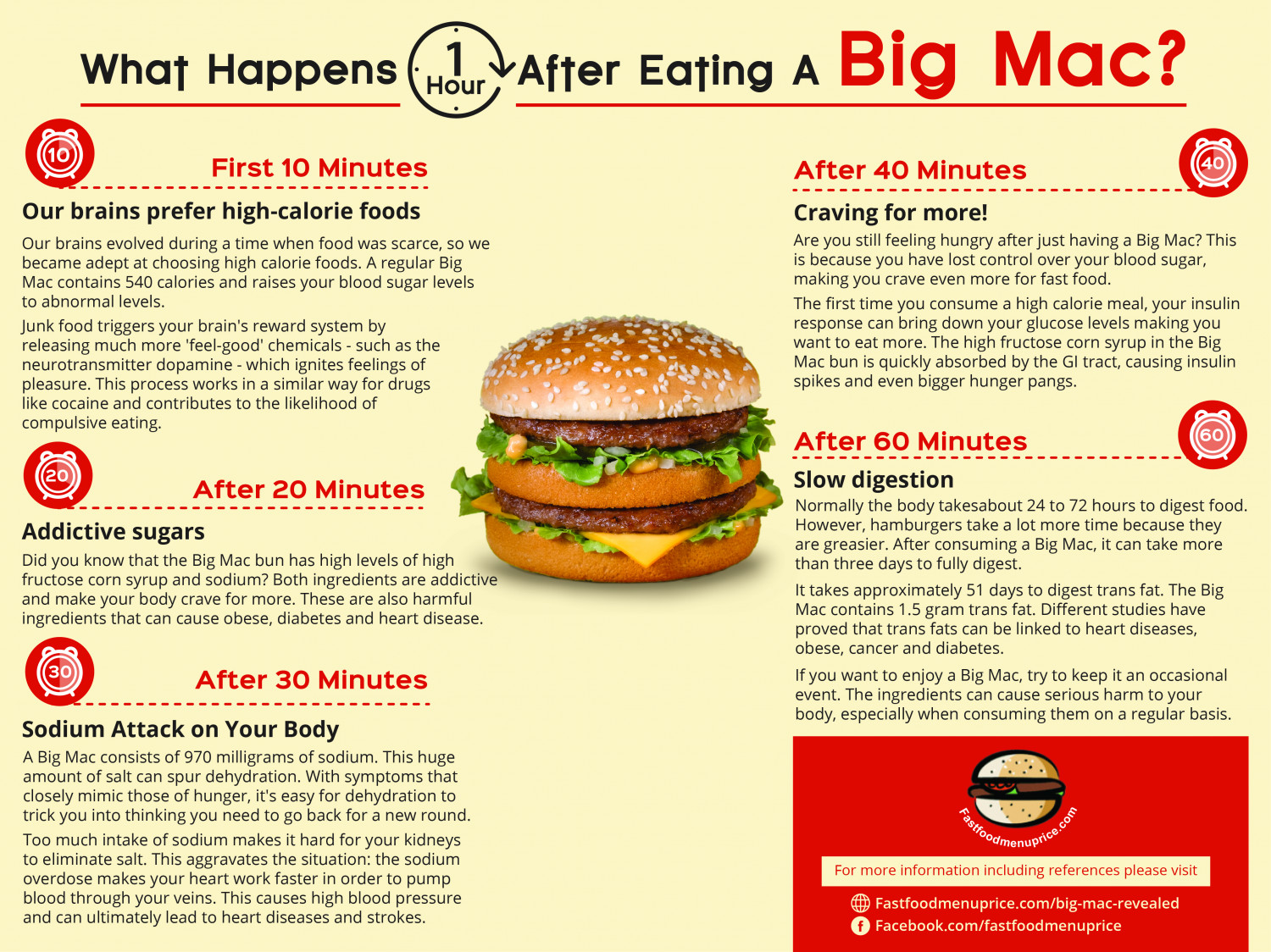 What Happens One Hour After Eating A Big Mac? Infographic