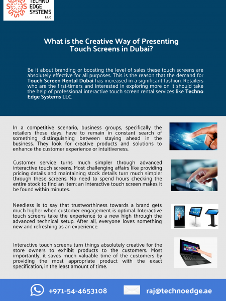 What is the Creative Way of Presenting Touch Screens in Dubai? Infographic
