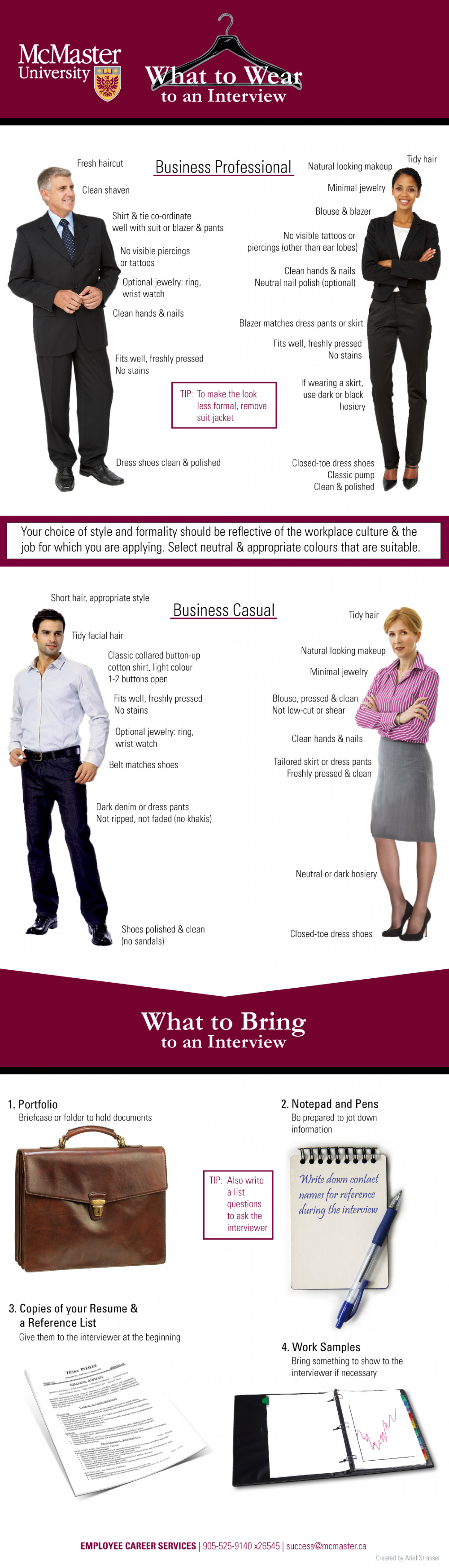What to Wear and Bring to a Job Interview Infographic