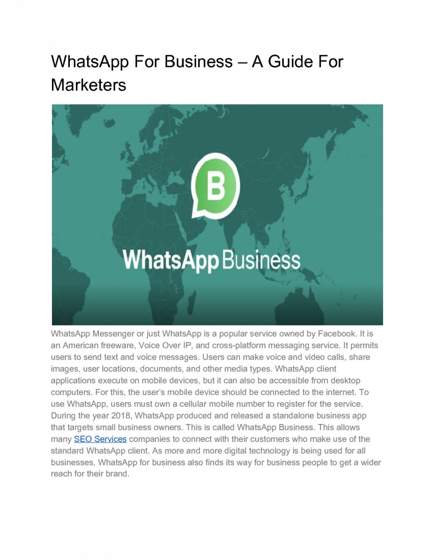WhatsApp For Business – A Guide For Marketers Infographic