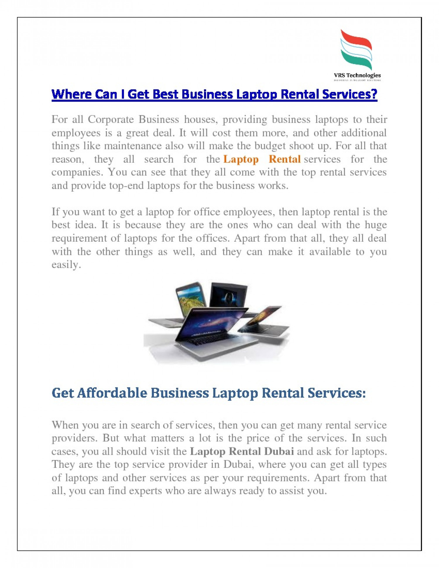 Where Can I Get Best Business Laptop Rental Services? Infographic