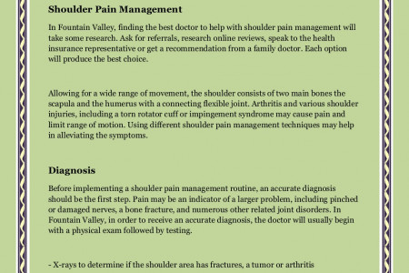 Where Should I Go for Shoulder Pain Management in Fountain Valley? By Howard Marans MD Infographic