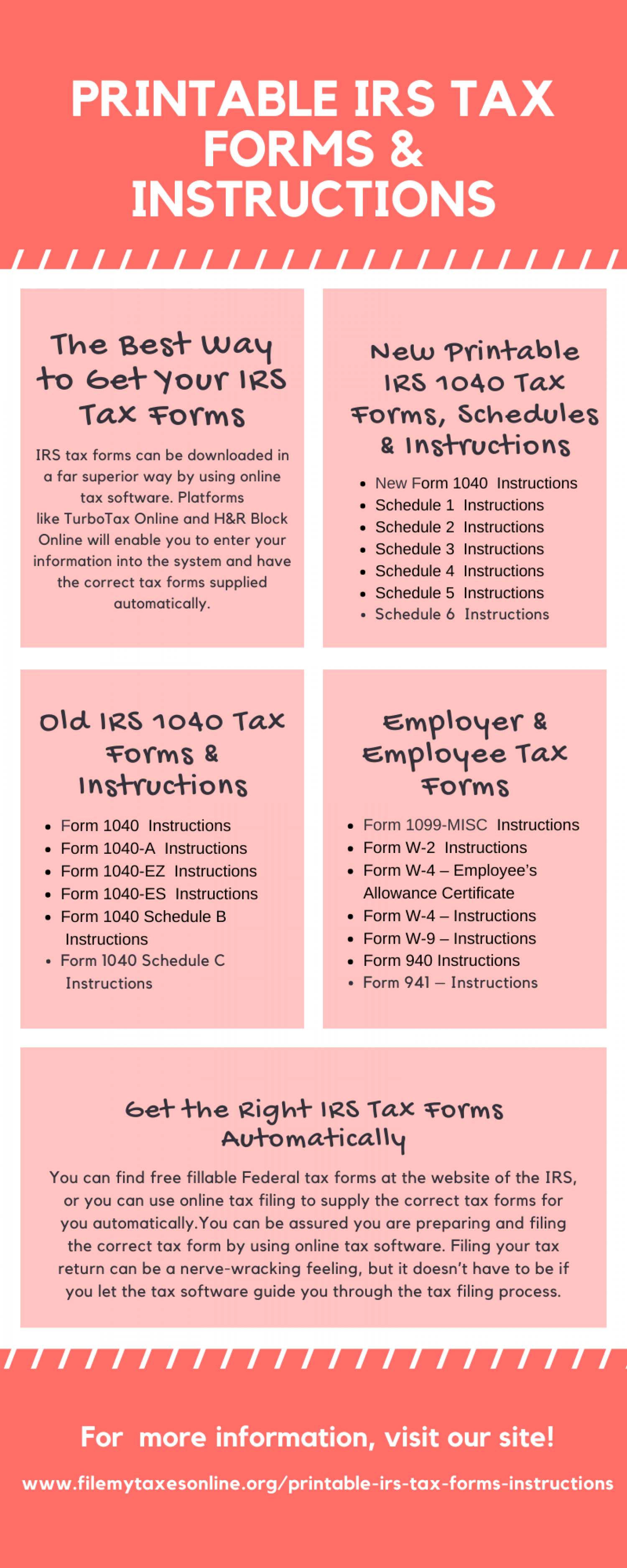 Where to Get Printable IRS Tax Forms & Instructions Infographic