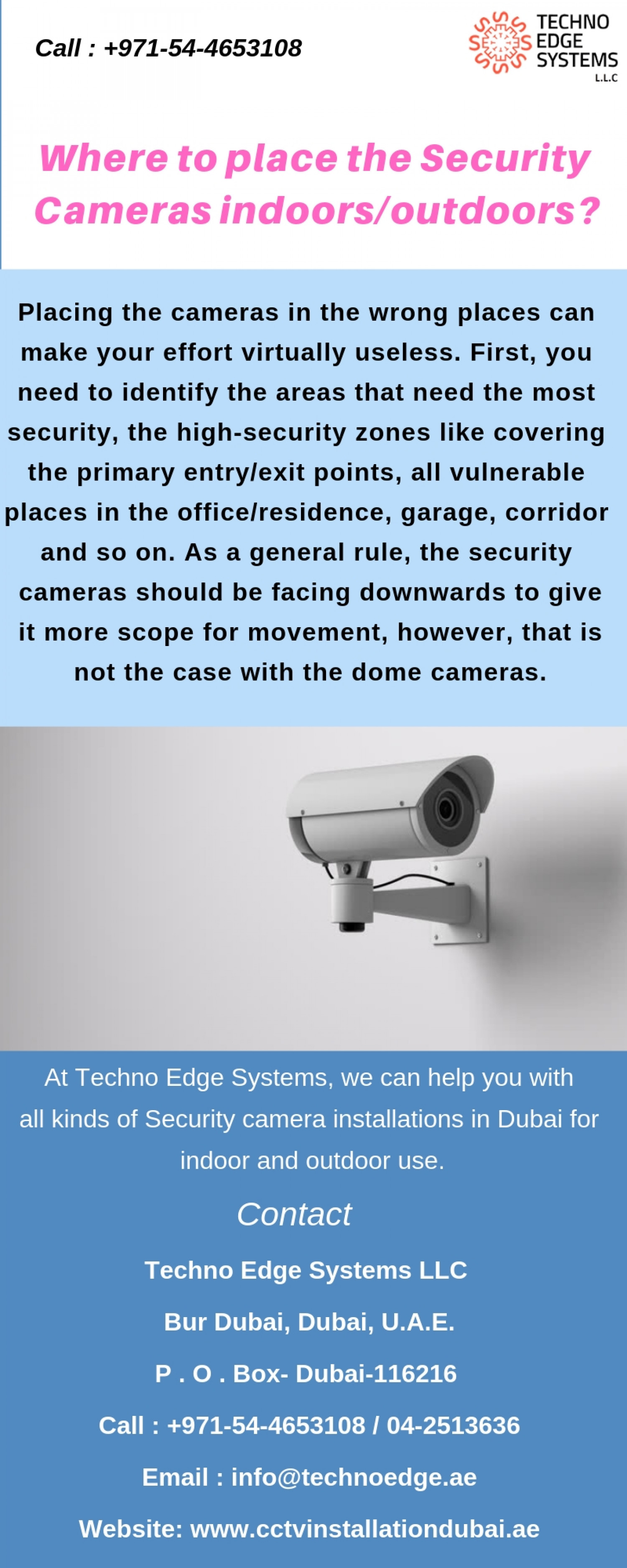 Where to place the Security Cameras indoors/outdoors? Infographic
