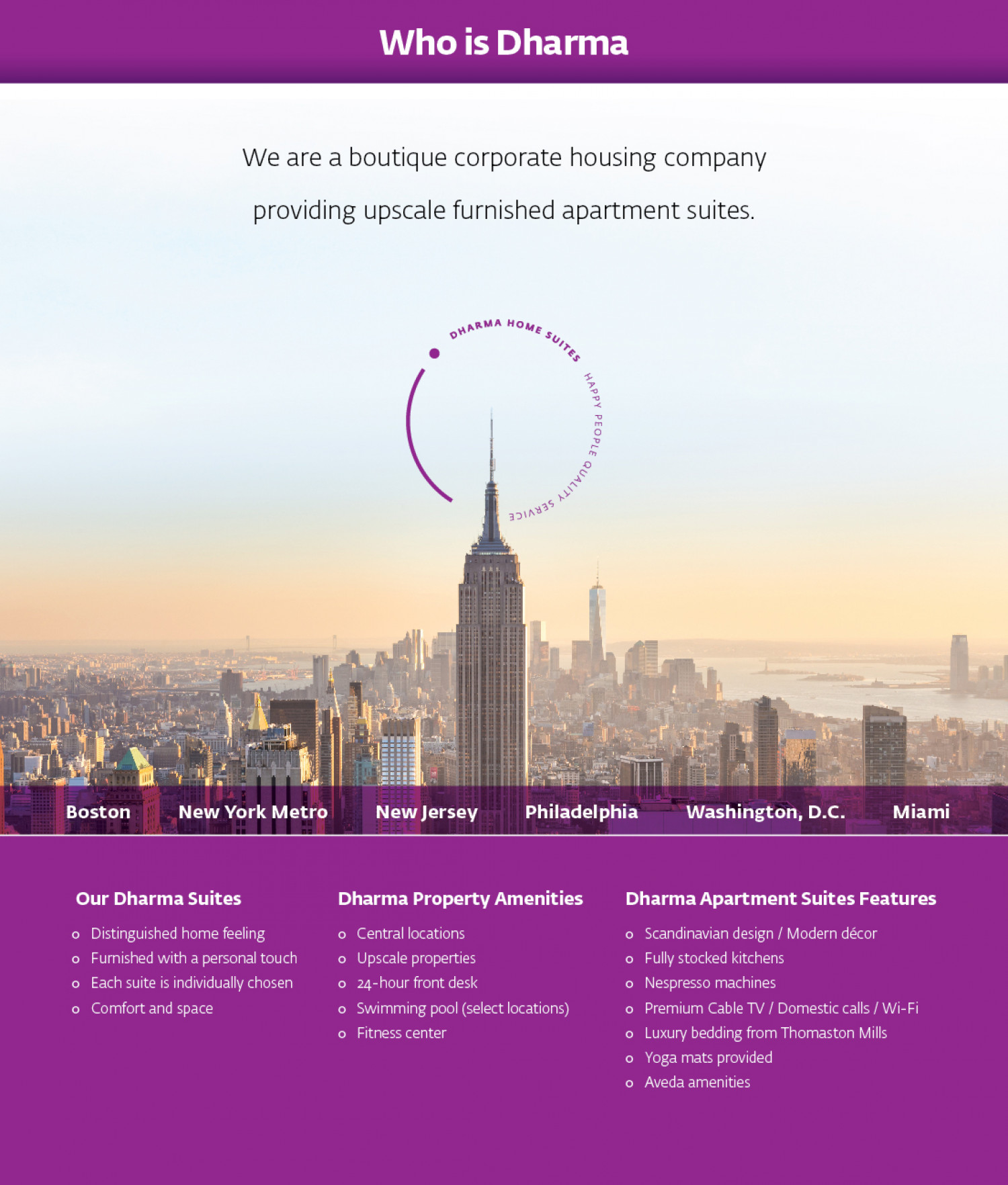 Who Is Dharma? and Features of Dharma Home Suites Apartments Infographic
