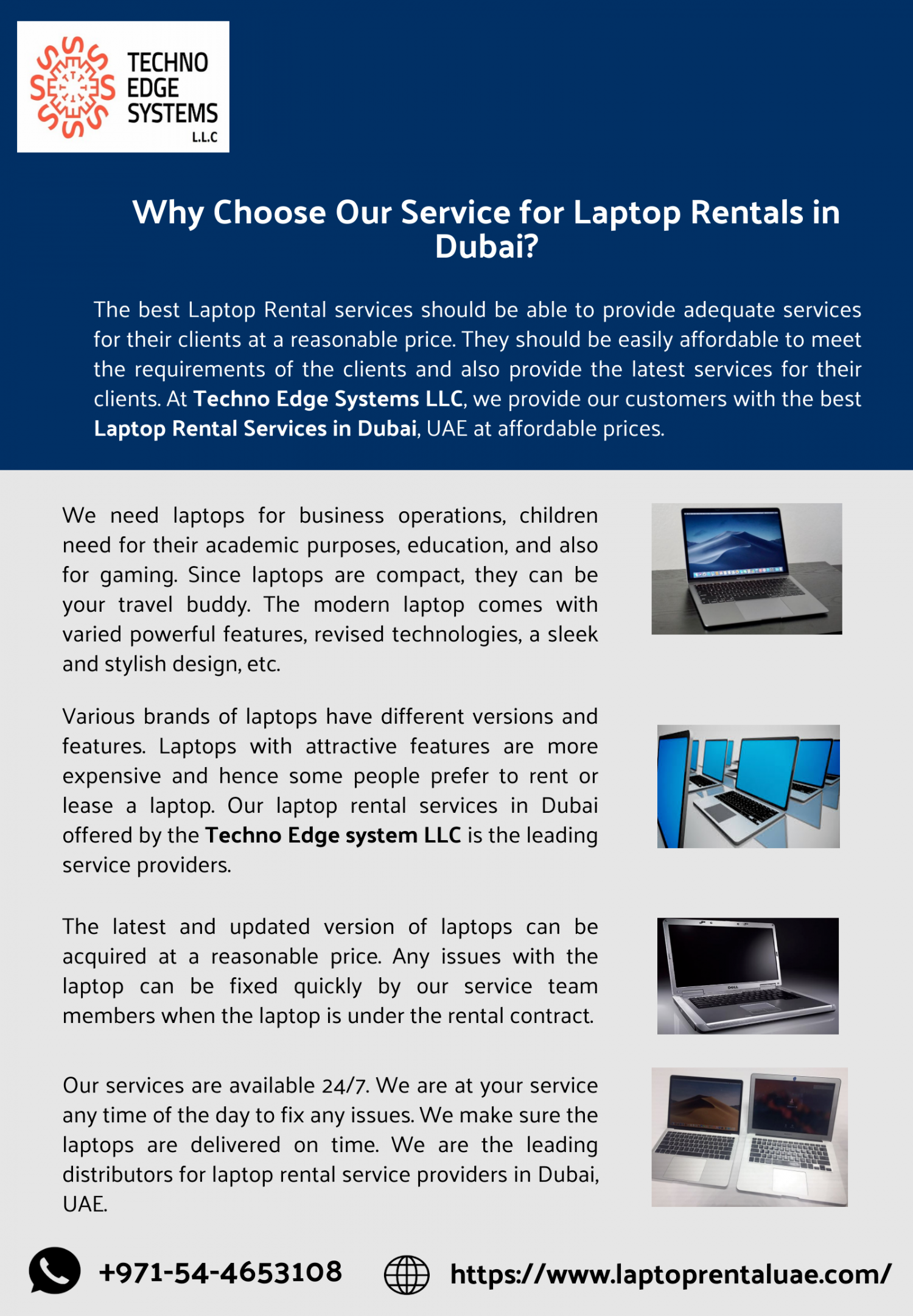 Why Choose Our Service for Laptop Rentals in Dubai? Infographic