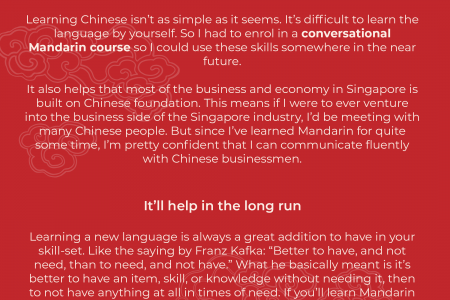 Why I learned Mandarin in a conversational course Infographic