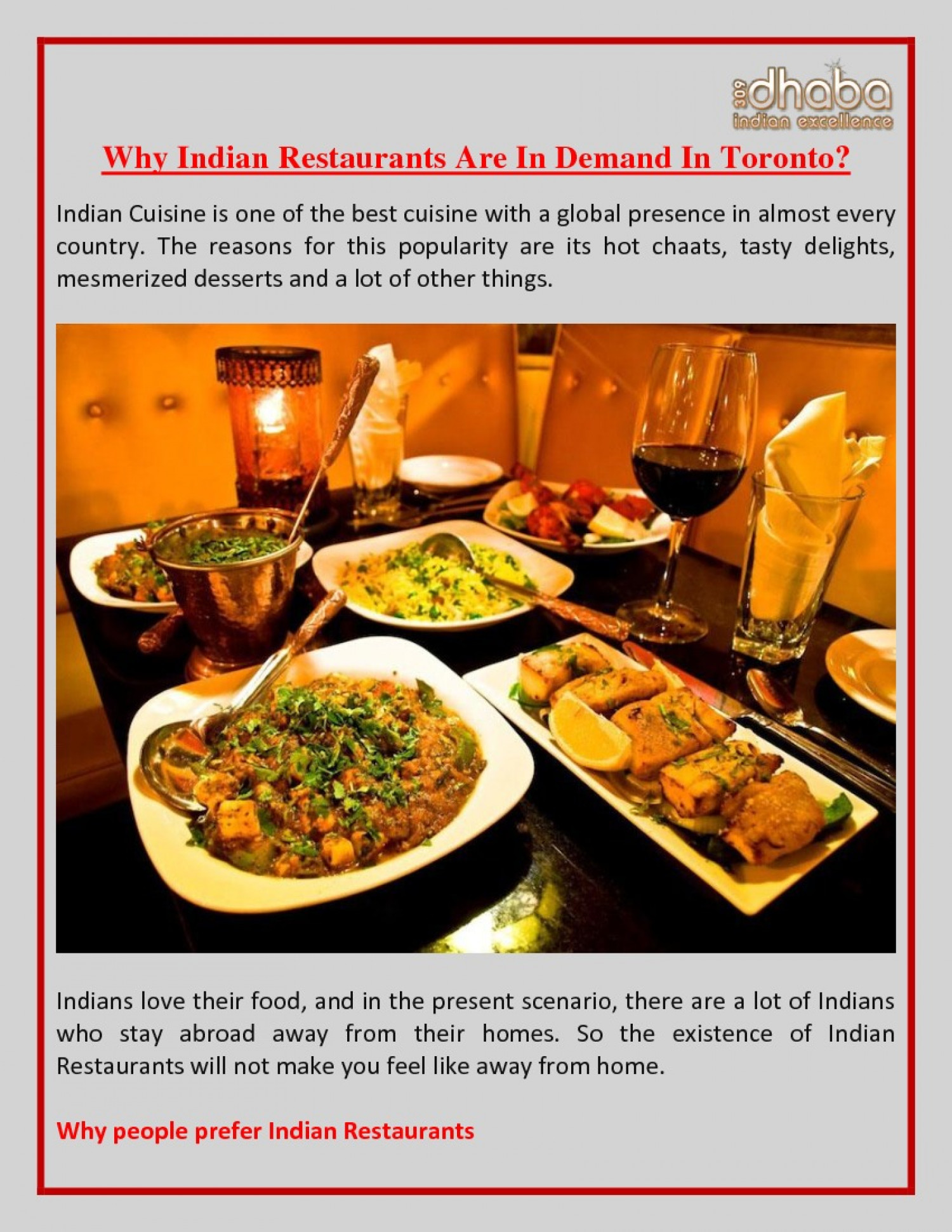 Why Indian Restaurants Are In Demand In Toronto? Infographic
