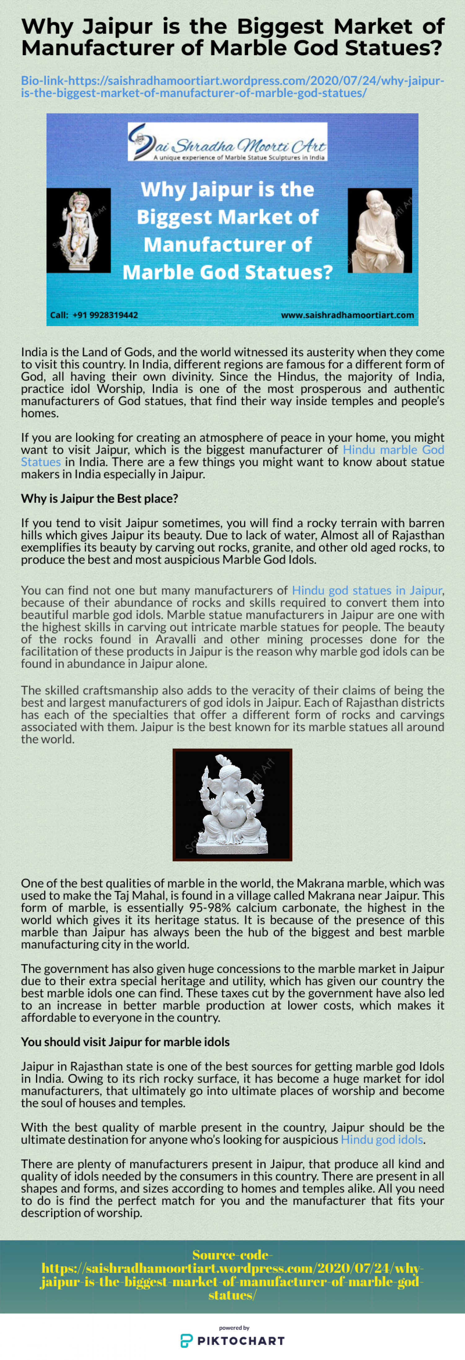 Why Jaipur is the Biggest Market of Manufacturer of Marble God Statues Infographic